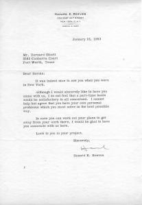 Hazard E. Reeves letter