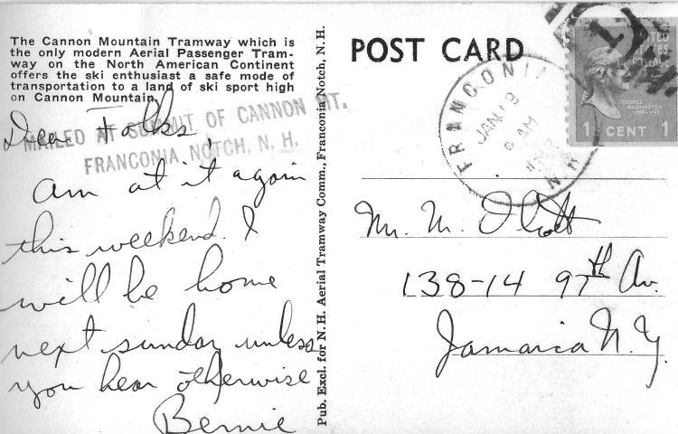Franconia Notch Postcard reverse