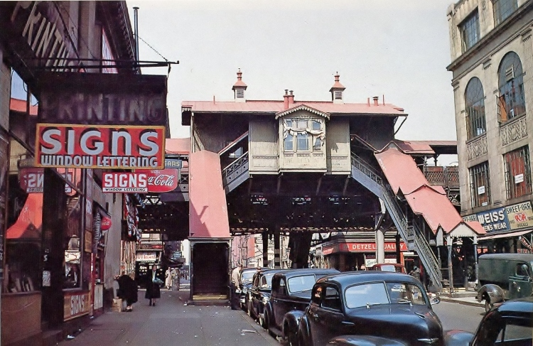 W. to 3AV EL Uptown E.84St EL Station-1954